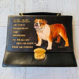 VINTAGE Unique Leather Handbag Purse AKC Bulldog